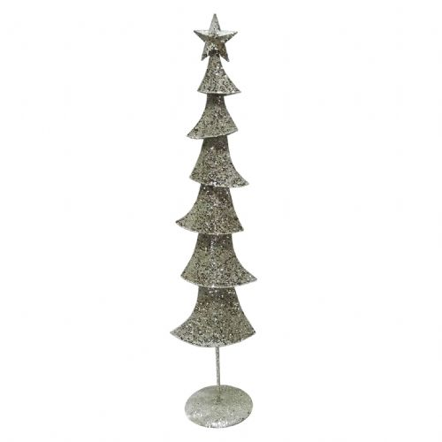 Large Champagne Silver Glittered Metal Christmas Tree - Contemporary Christmas Decoration